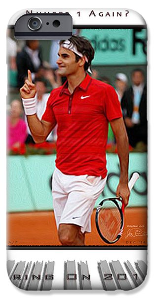 French Open iPhone Cases - Roger Federer Number One In 2015 iPhone Case by Joe Paradis