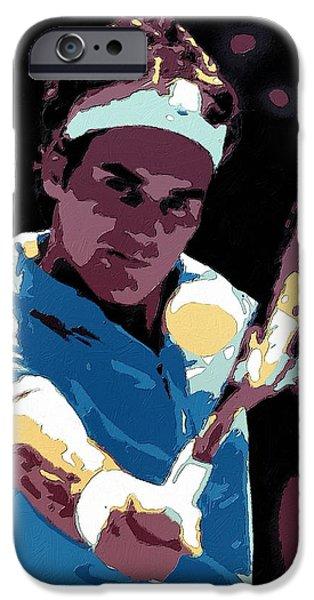Federer iPhone Cases - Roger Federer Portrait Art iPhone Case by Florian Rodarte