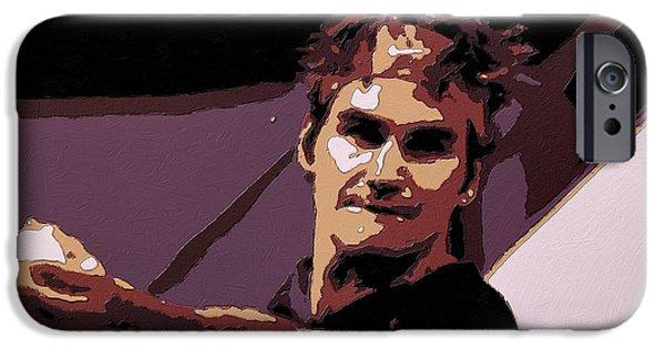Federer iPhone Cases - Roger Federer Poster Art iPhone Case by Florian Rodarte