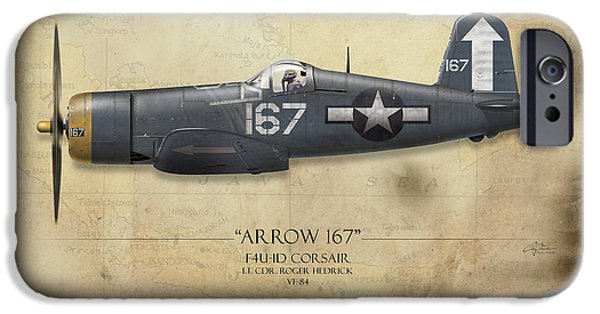 Carrier iPhone Cases - Roger Hedrick F4U Corsair - Map Background iPhone Case by Craig Tinder