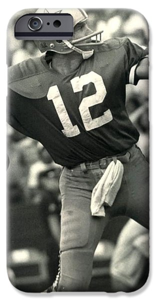 Quarterback iPhone Cases - Roger Staubach Vintage NFL Poster iPhone Case by Gianfranco Weiss