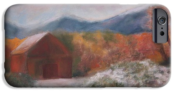 Barn Landscape Pastels iPhone Cases - Rogers Barn iPhone Case by Renee Poblacion