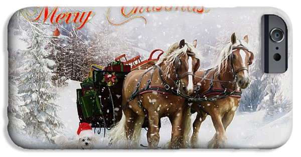 Dogs Digital iPhone Cases - Merry Christmas iPhone Case by Shanina Conway