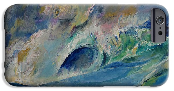 Storms Paintings iPhone Cases - Rogue Wave iPhone Case by Michael Creese