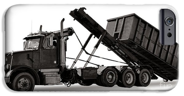 Dump iPhone Cases - Roll Off Truck  iPhone Case by Olivier Le Queinec