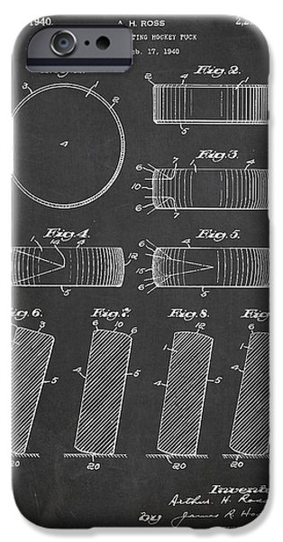 Hockey Game iPhone Cases - Roll Prevention Hockey Puck Patent Drawing From 1940 iPhone Case by Aged Pixel