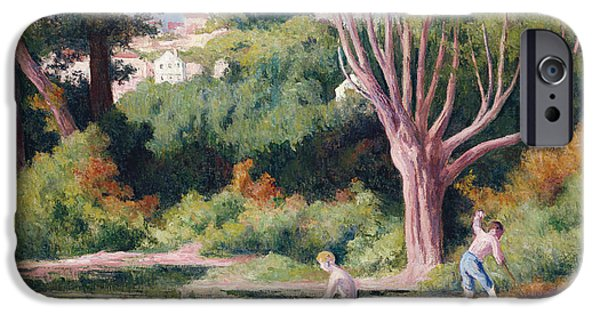 Reflecting Trees iPhone Cases - Rolleboise   Bathing iPhone Case by Maximilien Luce