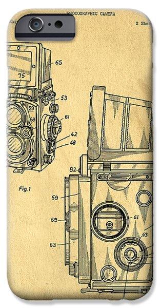 Texture Drawings iPhone Cases - Rolleiflex medium format twin lens reflex TLR patent iPhone Case by Edward Fielding