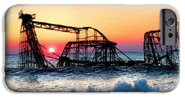 Storm Prints Mixed Media iPhone Cases - Roller Coaster After Sandy iPhone Case by Tony Rubino
