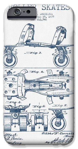 Roller Skates iPhone Cases - Roller Skate Patent Drawing from 1879  - Blue Ink iPhone Case by Aged Pixel