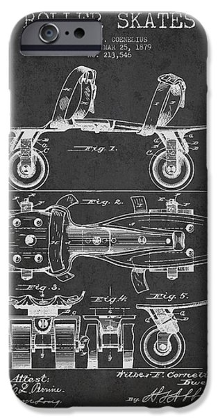 Roller Skates iPhone Cases - Roller Skate Patent Drawing from 1879 - Dark iPhone Case by Aged Pixel