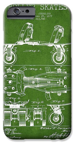 Roller Skates iPhone Cases - Roller Skate Patent Drawing from 1879 - Green iPhone Case by Aged Pixel