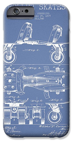 Roller Skates iPhone Cases - Roller Skate Patent Drawing from 1879 - Light Blue iPhone Case by Aged Pixel