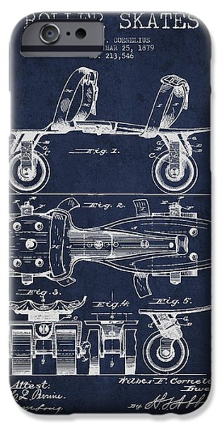 Roller Skates iPhone Cases - Roller Skate Patent Drawing from 1879 - Navy Blue iPhone Case by Aged Pixel