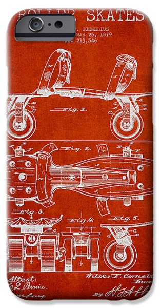 Roller Skates iPhone Cases - Roller Skate Patent Drawing from 1879 - Red iPhone Case by Aged Pixel