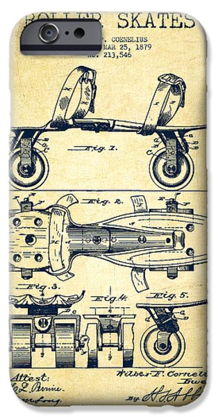 Roller Skates iPhone Cases - Roller Skate Patent Drawing from 1879 - Vintage iPhone Case by Aged Pixel