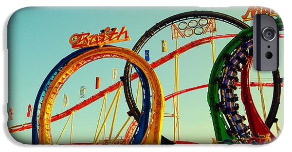 Oktoberfest iPhone Cases - Rollercoaster at the Octoberfest in Munich iPhone Case by Sabine Jacobs