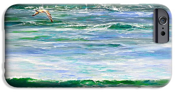 Flying Seagull Paintings iPhone Cases - Rolling Green iPhone Case by AnnaJo Vahle