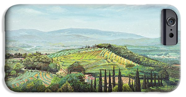 Tuscan Landscapes iPhone Cases - Rolling Hills, Pistoia, Tuscany Oil On Canvas iPhone Case by Trevor Neal