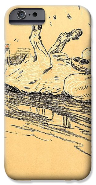Dirty Pastels iPhone Cases - Rolling In The Mud - A Dog Day Collection 5 of 27 iPhone Case by Cecil Aldin