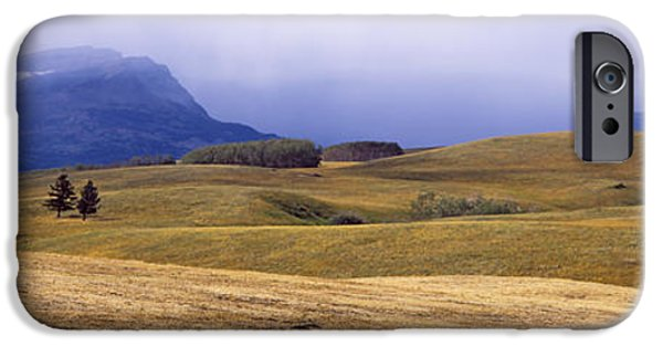 Pastureland iPhone Cases - Rolling Landscape With Mountains iPhone Case by Panoramic Images