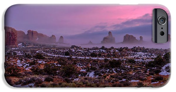 Snow iPhone Cases - Rolling Mist Through Arches iPhone Case by Chad Dutson