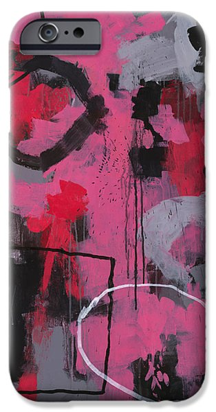 Drips Paintings iPhone Cases - Rolling the Big Wheel iPhone Case by Douglas Simonson