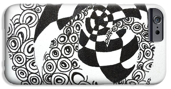 Plum Drawings iPhone Cases - Rolling Zen iPhone Case by Beverley Harper Tinsley