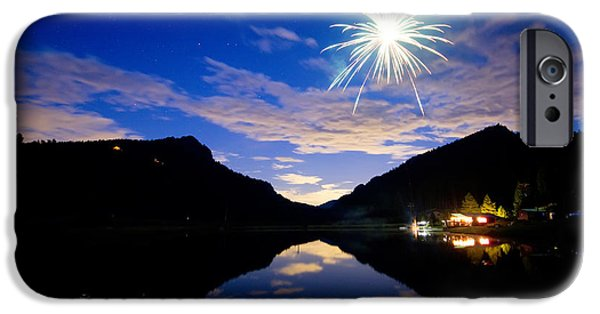 Blue Fireworks iPhone Cases - Rollinsville Yacht Club Fireworks Private Show 52 iPhone Case by James BO  Insogna