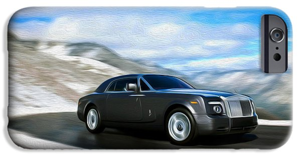 Asphalt Paintings iPhone Cases - Rolls Royce 4 iPhone Case by Lanjee Chee