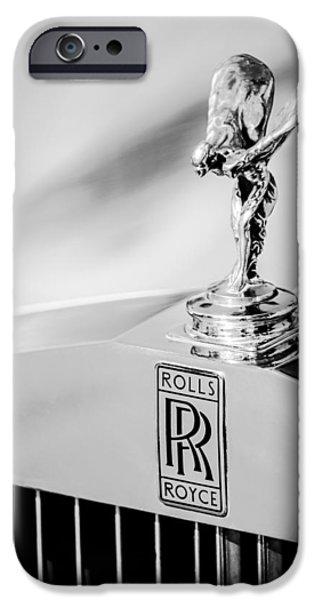 Jill Reger Photography iPhone Cases - Rolls-Royce Hood Ornament -782bw iPhone Case by Jill Reger