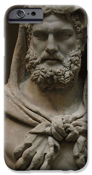 Mythological iPhone Cases - Roman Art. Marble Statue Of A Bearded Hercules Covered With Lions Skin. Early Imperial, Flavian iPhone Case by Bridgeman Images