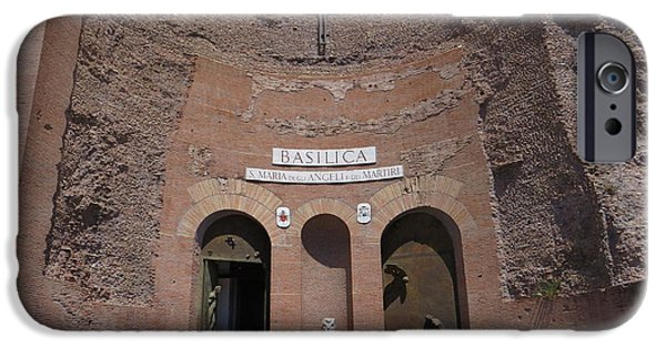 Santa Maria Degli Angeli iPhone Cases - Roman Basilica - Ancient and Modern iPhone Case by Rita Mueller