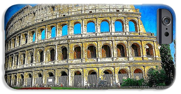 Built Structure Digital Art iPhone Cases - Roman Coliseum cityscape iPhone Case by Stefano Senise