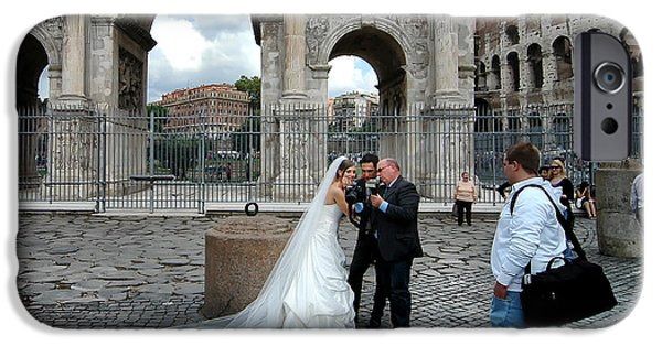 Betrothed iPhone Cases - Roman Colosseum Bride and Groom iPhone Case by Mike Nellums