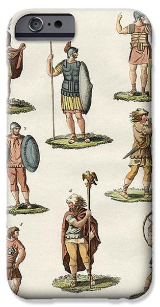 Roman foot soldiers iPhone Case by Splendid Art Prints