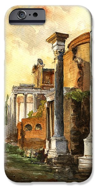 Temple Paintings iPhone Cases - Roman forum iPhone Case by Juan  Bosco