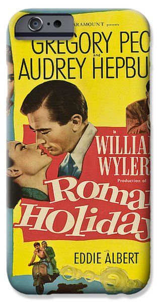 1950s Movies iPhone Cases - Roman Holiday - 1953 iPhone Case by Nomad Art And  Design