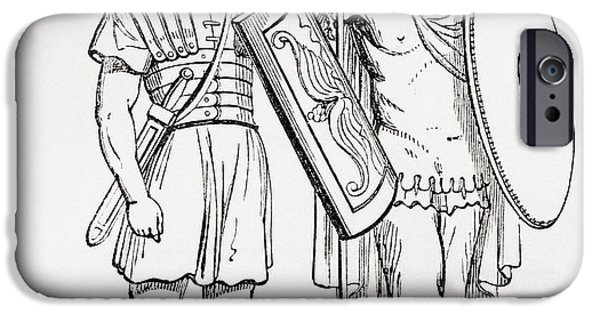 Figure iPhone Cases - Roman Infantry Soldiers, After Figures On Trajans Column.  From The Imperial Bible Dictionary iPhone Case by Bridgeman Images
