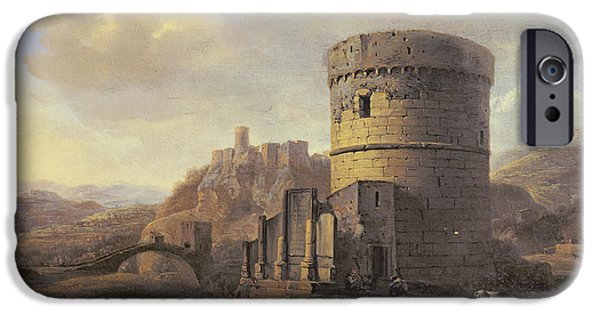 Ruin iPhone Cases - Roman Landscape The Tomb Of Cecilia Metella Oil On Panel iPhone Case by Jacob de Heusch