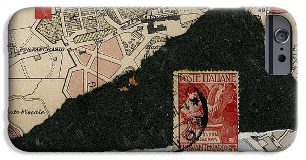 Photomontage iPhone Cases - Roman Map Collage iPhone Case by Carol Leigh