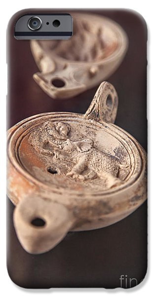 Burned Clay iPhone Cases - Roman oil lamp iPhone Case by Sophie McAulay
