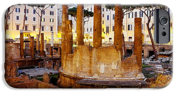 Ancient Ruins iPhone Cases - Roman temples iPhone Case by Fabrizio Troiani