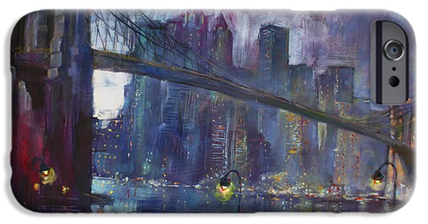 Reflection Paintings iPhone Cases - Romance by East River NYC iPhone Case by Ylli Haruni