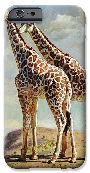 Romance in Africa. Love Among Giraffes iPhone Case by Svitozar Nenyuk