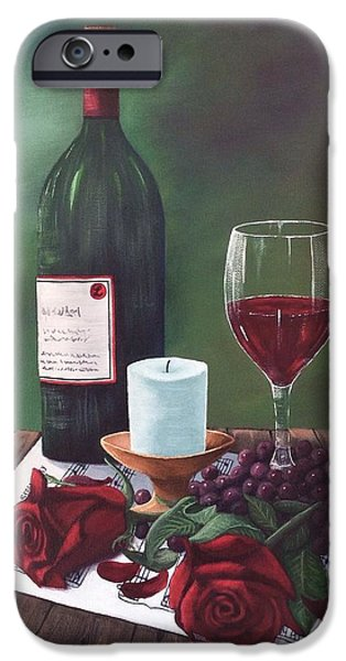 Table Wine iPhone Cases - Romance iPhone Case by Marlene Little