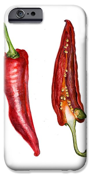 Red Hot Chili Peppers Paintings iPhone Cases - Romano Red Pepper iPhone Case by Alison Langridge