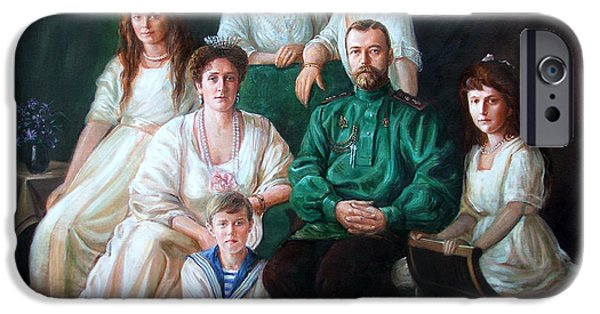 Duchess Paintings iPhone Cases - Romanov family portrait iPhone Case by George Alexander