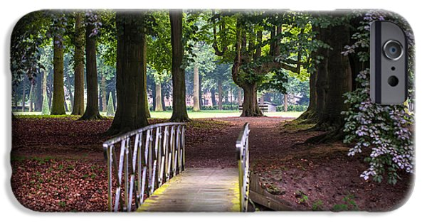 Garden Scene Photographs iPhone Cases - Romantic Bridge to Shadow Place. De Haar Castle iPhone Case by Jenny Rainbow