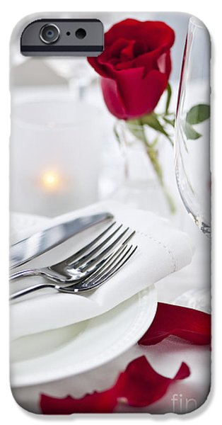 Roses iPhone Cases - Romantic dinner setting with rose petals iPhone Case by Elena Elisseeva